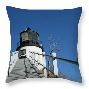 Owls Head Lighthouse Winter Throw Pillow