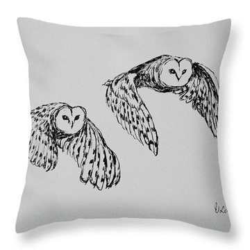Throw Pillow featuring the drawing Owls In Flight by Victoria Lakes