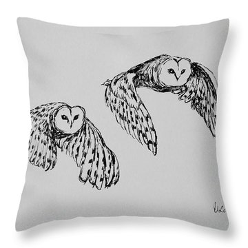 Owls In Flight Throw Pillow by Victoria Lakes