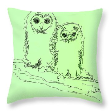 Throw Pillow featuring the drawing Owlz R Us by Denise Fulmer