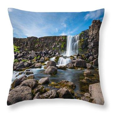 Oxararfoss Waterfall  Throw Pillow