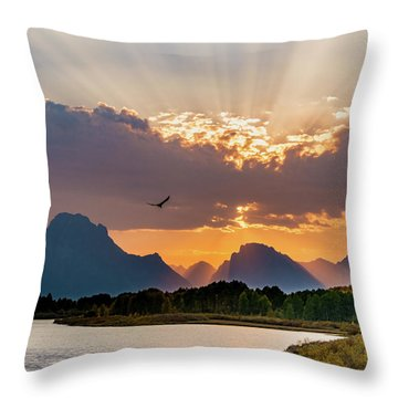 Oxbow At Sunset Throw Pillow by Mary Hone