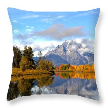 Mt Moran At Oxbow Bend Throw Pillow
