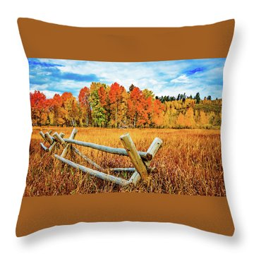 Oxbow Bend Fall Color Throw Pillow