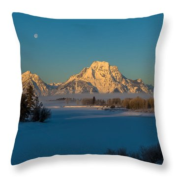 Oxbow Bend In Late Winter Throw Pillow by Yeates Photography