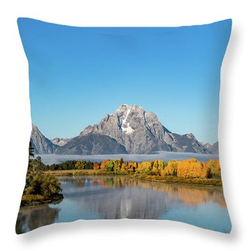 Oxbow Bend Reflecting Throw Pillow by Mary Hone
