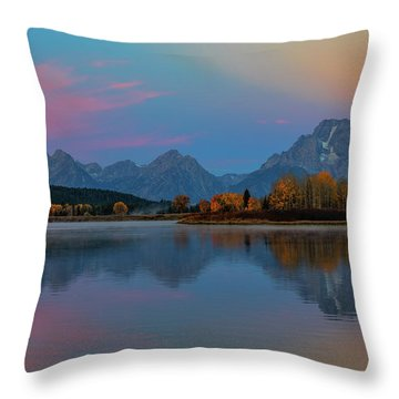 Oxbows Reflections Throw Pillow by Edgars Erglis