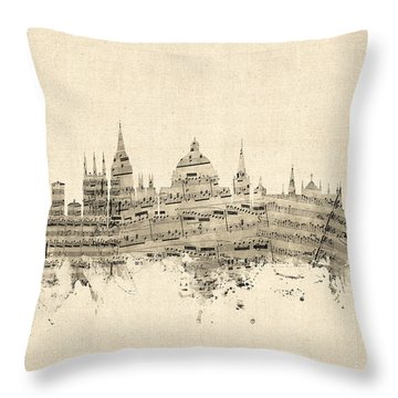 Oxford England Skyline Sheet Music Throw Pillow