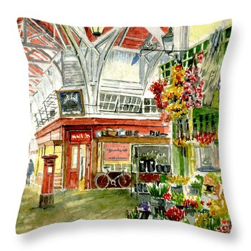 Oxford's Covered Market Throw Pillow by Mike Lester