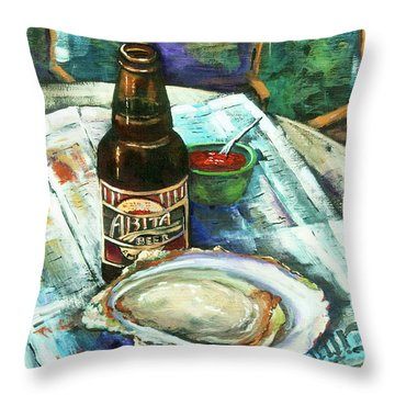 Oyster And Amber Throw Pillow