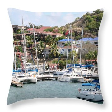 Throw Pillow featuring the photograph Oyster Bay Marina by Margaret Bobb