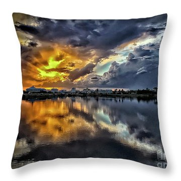 Oyster Lake Sunset Throw Pillow by Walt Foegelle
