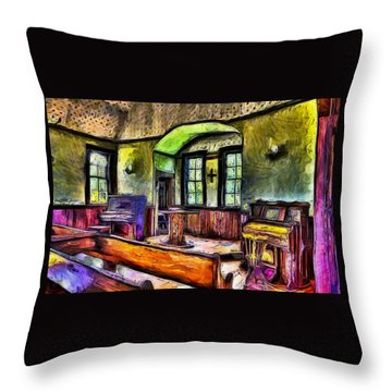 Oysterville Church Interior Throw Pillow