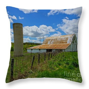 Ozarks Old Barn And Silo Throw Pillow by Jennifer White