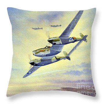 P-38 Lightning Aircraft Throw Pillow by Bill Holkham