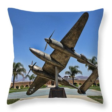 P-38 Memorial March Field Museum Throw Pillow by Tommy Anderson