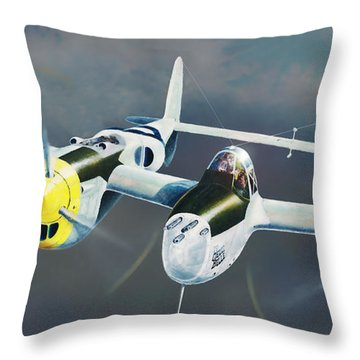 P-38 On The Prowl Throw Pillow