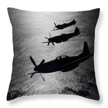 P-51 Cavalier Mustang With Supermarine Throw Pillow