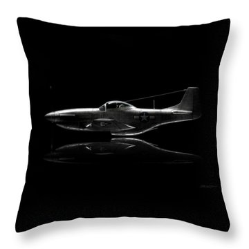 P-51 Mustang Profile Throw Pillow by David Collins