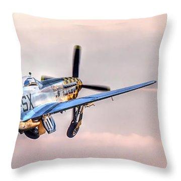 P-51 Mustang Taking Off Throw Pillow