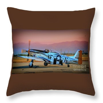 P-51d Mustang 'dakota Kid II. The Long Island Kid' And Casey Odegaard Throw Pillow