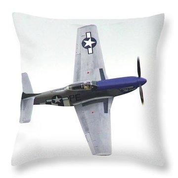 P-51 D Wing Over Throw Pillow