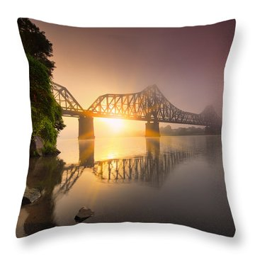 P And Le Ohio River Railroad Bridge Throw Pillow