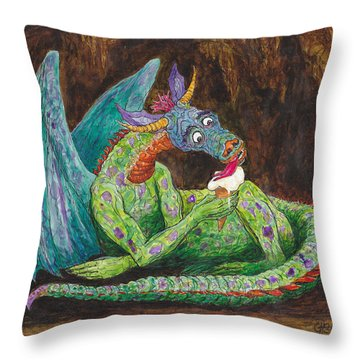 Dragons Love Ice Cream Throw Pillow by Charles Cater