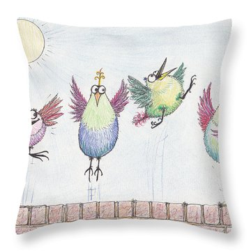 P4  Four Birds Celebrate Throw Pillow
