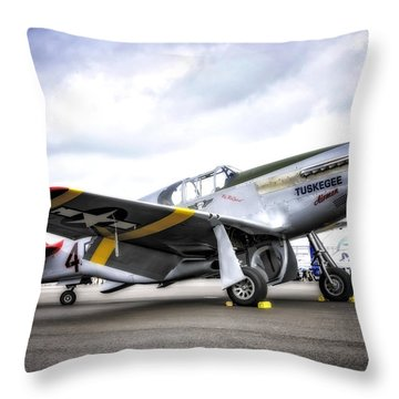 P51-c Mustang In Hdr Throw Pillow by Michael White