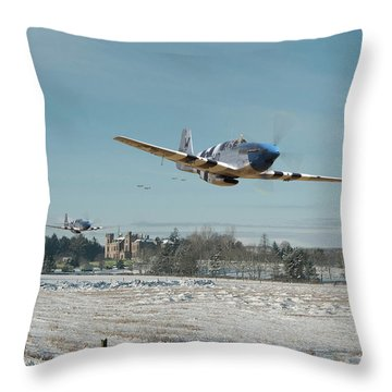 Throw Pillow featuring the digital art P51 Mustang - Bodney Blue Noses by Pat Speirs