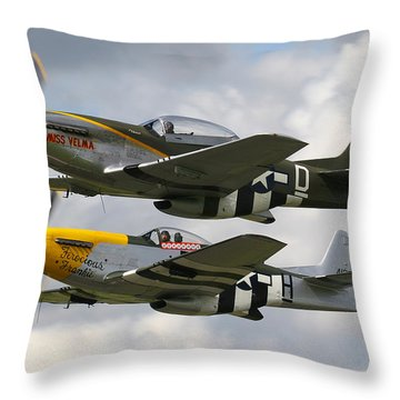 P51 Mustangs Throw Pillow by Ken Brannen