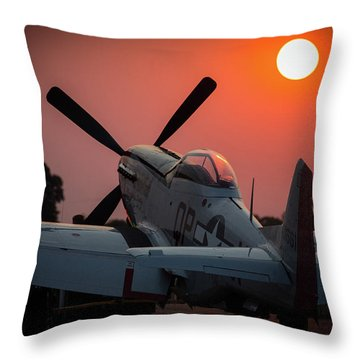 P51 Sunset Throw Pillow
