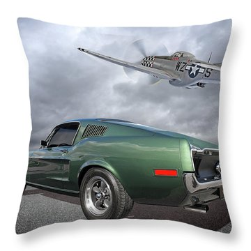 P51 With Bullitt Mustang Throw Pillow