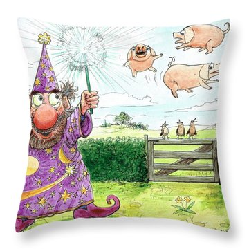 Pigs Might Fly    P8 Throw Pillow by Charles Cater