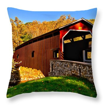 Pa Covered Bridge Throw Pillow by Nick Zelinsky