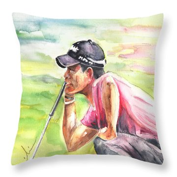 Pablo Larrazabal Winning The Bmw Open In Germany In 2011 Throw Pillow by Miki De Goodaboom