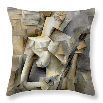 Pablo Picasso Girl With A Mandolin 1910 Throw Pillow