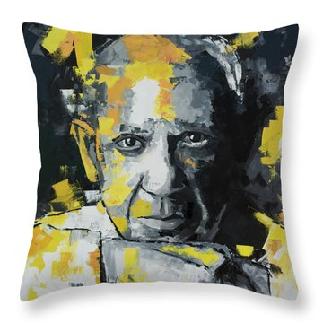 Throw Pillow featuring the painting Pablo Picasso Portrait by Richard Day
