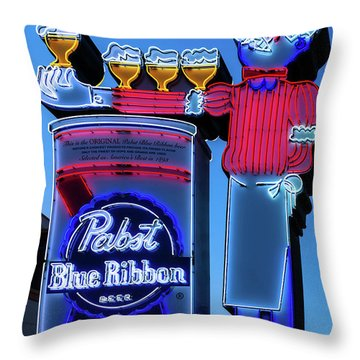 Pabst Blue Ribbon Neon Sign Fremont Street Throw Pillow