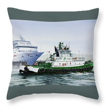 Throw Pillow featuring the painting Pacific Escort Cruise Ship Assist by James Williamson