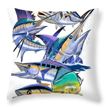 Pacific Gamefish  Throw Pillow by Carey Chen