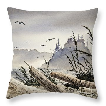Pacific Northwest Driftwood Shore Throw Pillow