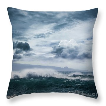 Throw Pillow featuring the photograph He Inoa Wehi No Hookipa  Pacific Ocean Stormy Sea by Sharon Mau