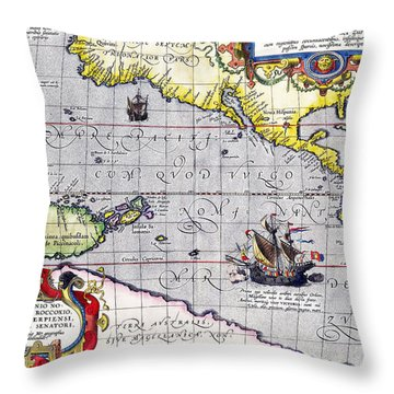 Pacific Ocean Vintage Map Throw Pillow