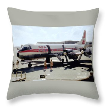 Pacific Southwest Airlines Lockheed L-188c, N376ps Throw Pillow
