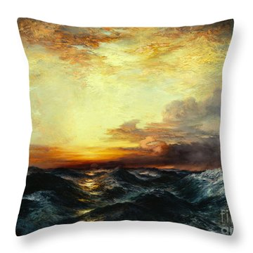 Pacific Sunset Throw Pillow by Thomas Moran