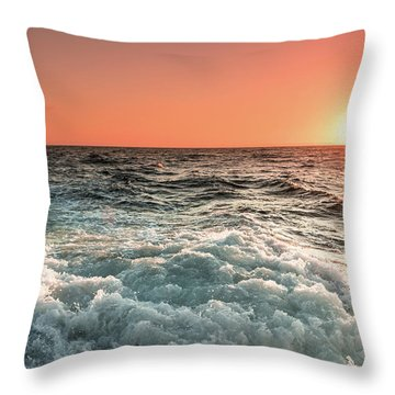 Pacific Sunset With Boat Wash Throw Pillow by Jeremy Farnsworth