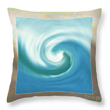 Pacific Swirl With Border Throw Pillow