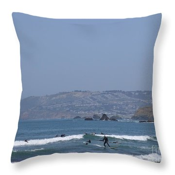 Pacifica Surfing Throw Pillow